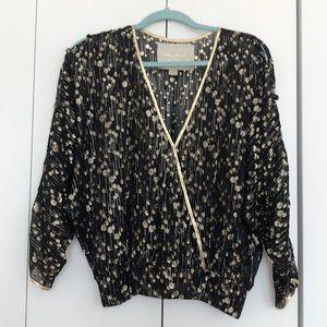 Vintage Black & Gold Blouse